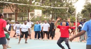 Les jésuites lors d'un match de Volley-Ball