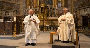 (De gauche à droite : PP Adolfo Nicolas SJ et Bruno Cadoré, OP, lors de la messe d'ouverture de la 36 CG