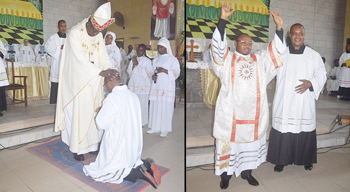 Bonamoussadi: Mgr Samuel Kleda ordonne diacre Y. Essengué SJ