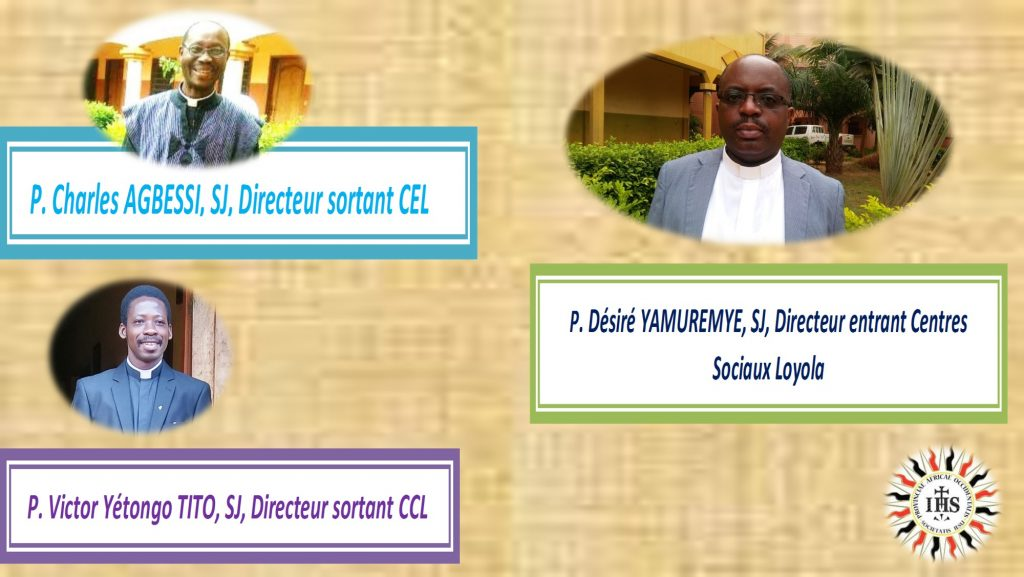 Les Pères Jésuites Charles Agbessi, Victor Yétongo Tito et Désiré Yamuremye des Centres Sociaux Loyola