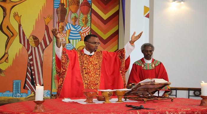 Fr Orobator and Fr Kifle Wansamo during Hekima launch academic year