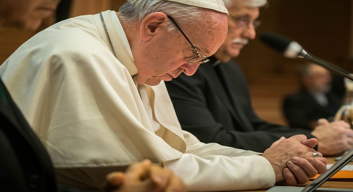Pope Francis in Prayer with Jesuits during the GC36