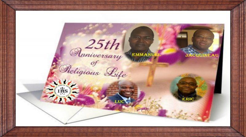 Jubilé d'argent des pères jésuites Emmanuel Foro Jacquineau Azetsop Eric Akue Luc Amoussou